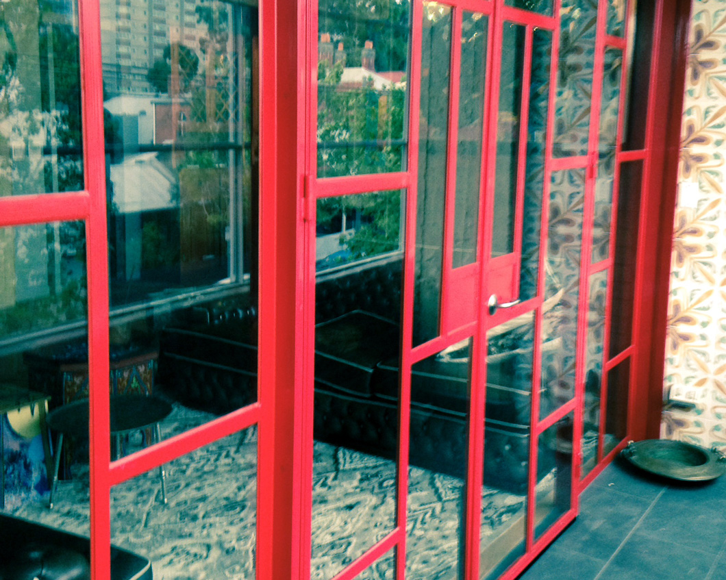 Red Steel Frame Entry